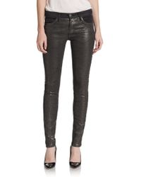 Current/Elliott The Ankle Embossed Skinny Jeans - Lyst