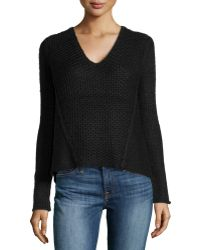 Helmut Lang V-neck Combo-knit Sweater - Lyst