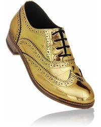 Luke Grant-muller Men'S Chrome Gold Metallic Brogue Shoes gold - Lyst