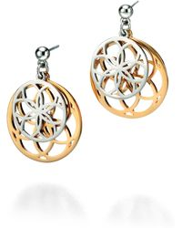 Fiorelli - Silver And Gold Cut-out Geometric Earrings - Lyst