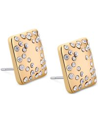 Tahari - T Gold-Tone And Crystal Square Stud Earrings - Lyst