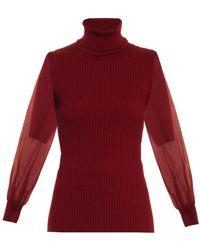 Nina Ricci Contrast Silk-sleeve Sweater - Lyst