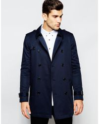 ASOS Shower Resistant Trench Coat With Double Breast In Navy - Blue