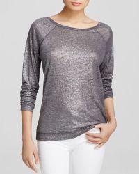 Majestic Metallic Linen Sweatshirt - Lyst