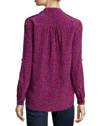 Diane von Furstenberg Lorelei Leopard-Print Silk Blouse - Lyst