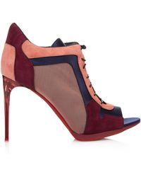Burberry Cornfield Colour-Blocked Suede Ankle Boots - Multicolour