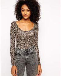 American Apparel Long Sleeve Leopard Print Body - Lyst