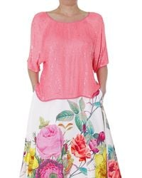 P.A.R.O.S.H. -Woman-Pink-Sequin-Blouse - Lyst