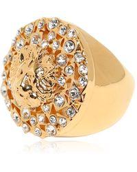 Versus - Rhinestone & Gold Plated Lion Ring - Lyst