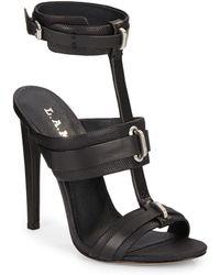 L.A.M.B. Bradley Leather High-Heel Sandals - Lyst