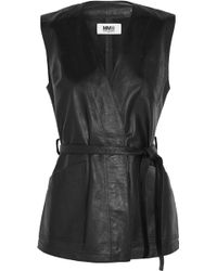 MM6 by Maison Martin Margiela - Belted Wrap-effect Leather Vest - Lyst
