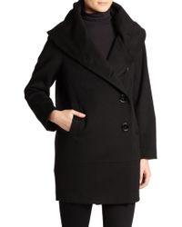 Sofia Cashmere Wool/Cashmere Cocoon Coat black - Lyst