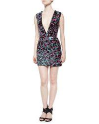 J. Mendel Plunge-Neck Beaded & Embroidered Cocktail Dress - Lyst