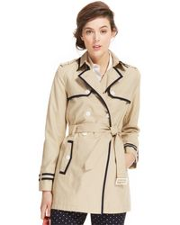 Tommy Hilfiger Piped Trench Coat - Lyst