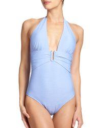 Heidi Klein One-Piece Textured Halter Swimsuit - Lyst