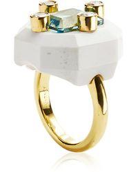 Nicholas Varney - Carved Cacholong Aquamarine and Diamond Duo Ring - Lyst