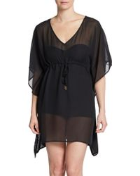 Calvin Klein Drawstring Chiffon Cover-up Tunic - Lyst