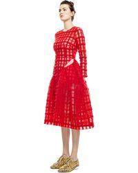Simone Rocha Red Brushed Wool Check Diagonal Slit Dress - Lyst