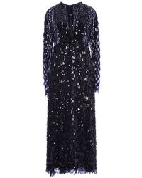 Thakoon Fringe Sequin Long Sleeve V-Neck Dress - Lyst