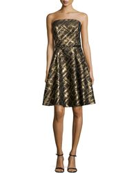 ML Monique Lhuillier Strapless Cocktail Dress With Beaded Waist - Lyst