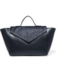 Iris & Ink - Smooth And Ostrich-effect Leather Tote - Lyst