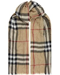 Burberry Brit - Check Cashmere Crinkled Scarf - Lyst