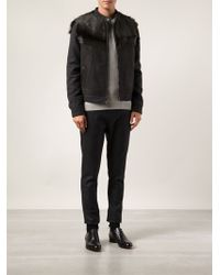 Lanvin Goat Fur Panel Jacket - Lyst