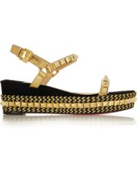 Christian Louboutin Cataclou 60 Embellished Suede And Leather Wedge Sandals - Lyst