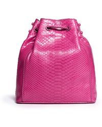 Zagliani Pompadour Shiny Python Bucket Bag - Lyst