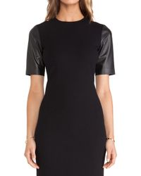 Vince Leather Sleeve Pencil Dress - Lyst