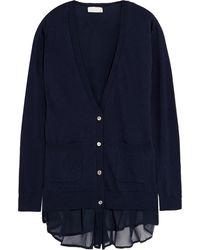 CLU Cotton-Blend And Silk-Chiffon Cardigan - Lyst