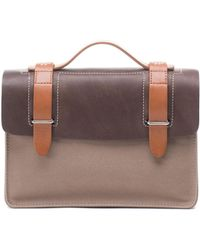 Seventy Eight Percent Zazie Leather And Canvas Satchel In Mushroom - Lyst