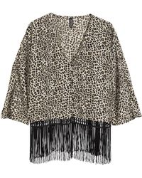 H&M Animal Fringed Blouse - Lyst
