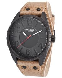 Caravelle NY - Men's Tan Genuine Leather Black Dial Black Ip Ss - Lyst