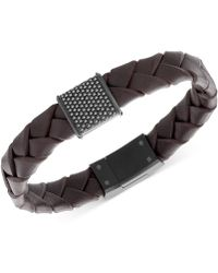 Swarovski Men's Capture Black Pvd Metal Brown Leather Bracelet