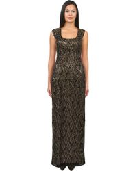 Sue Wong Illusion Yoke Column Dress - Lyst