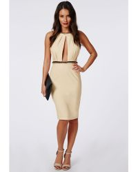 Missguided Ailsa Crepe High Neck Chain Midi Dress Nude - Lyst