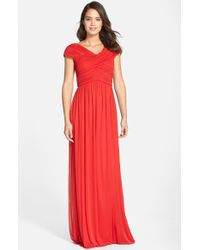 JS Boutique Ruched Chiffon Gown - Lyst