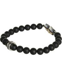 King Baby Studio Onyx 8mm Bead Bracelet with Alloy Star Of David in Silver - Lyst