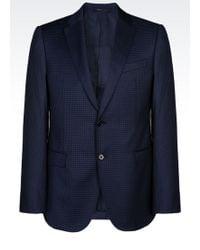 Armani Slim Fit Jacket in Checked Virgin Wool - Lyst