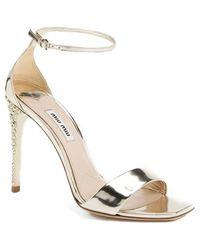 Miu Miu Metallic Ankle Strap Sandal - Lyst