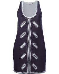 Stella McCartney Zigarette-Embroidered Neoprene Dress blue - Lyst