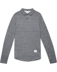 MKI Miyuki-Zoku   Grey Melange Long Sleeve Polo Shirt   Lyst