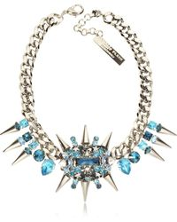 Philipp Plein - Pink Is The New Black Light Blue Studded Necklace - Lyst