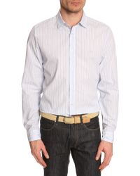 Lacoste Sky Blue Striped Poplin Shirt - Lyst