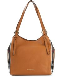 Burberry House Check Leather and Cotton Tote - Lyst