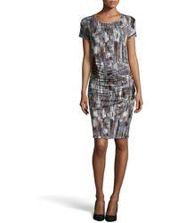 Halston Heritage Brushstroke Print Ruched Jersey Dress - Lyst