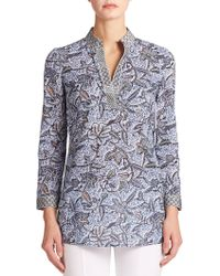 Tory Burch Embroidered-Trim Tunic blue - Lyst