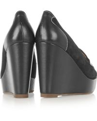 Penelope Chilvers Sahara Suede And Leather Wedge Pumps - Black