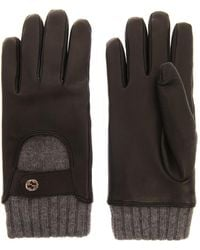 Gucci Leather and Cashmere Gloves - Lyst